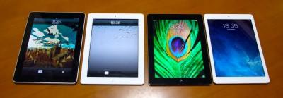 iPad Airと手持ちの歴代iPadのボディを比較してみたww