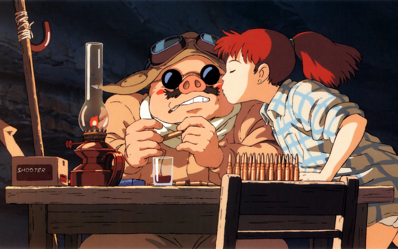 紅の豚頬にキスするフィオ