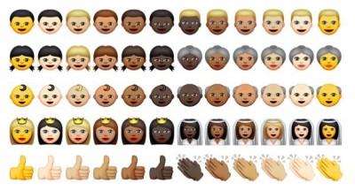 「iOS 8.3β2」では絵文字に人種多様性を導入。その選択方法がよく分かるGIFアニメ